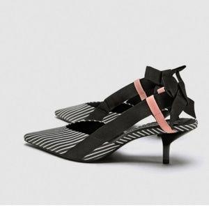 Zara black and white striped  kitten heel